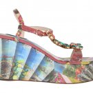 MULTICOLOR SICILY PRINT CRYSTAL WEDGES LEATHER SHOES