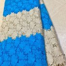 African lace fabric Swiss Lace Guipure Lace fabric Blue Gold African Fabric 5yds