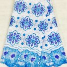 African Lace Fabric Blue White Swiss Voile lace with many rhinestone 5 yards