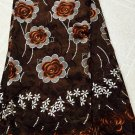 African Lace Fabric Swiss Voile Lace Brown African Fabric with many stones 5yard