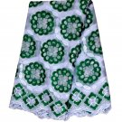 African Lace Fabric/Swiss Voile Lace/white green African Lace Fabric/Big Lace 5y