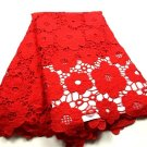 African fabric lace/Swiss guipure lace fabric/red guipur Lace fabric/5 yards