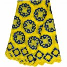 African Lace Fabric/Swiss Voile Lace/Yellow Blue African Lace fabric/Big Lace 5y