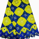 African Lace Fabric/Swiss Voile Lace/blue yellow African Lace Fabric/ 5 yards