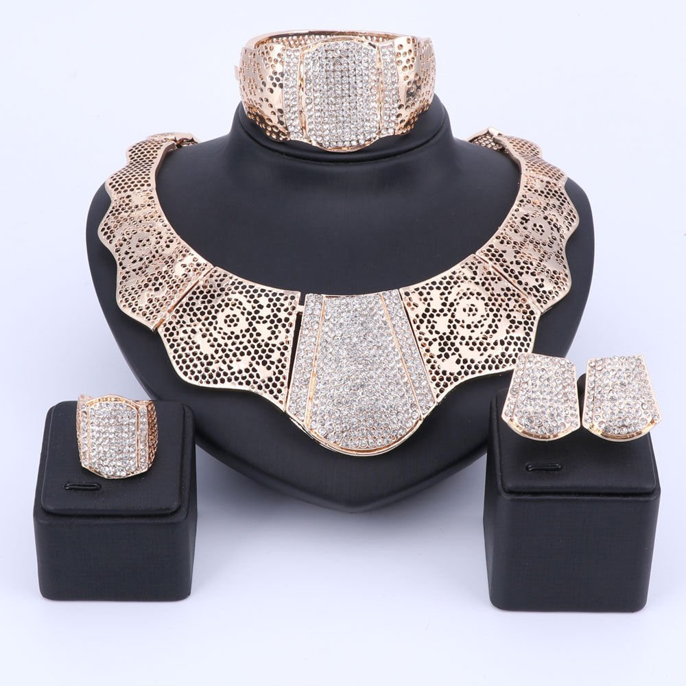African Wedding Jewelry Set/4 pieces Jewelry set/Gold jewelry/women jewelry set