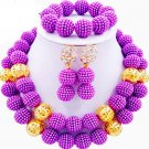 African wedding Jewelry set/African bead jewelry set/lilac gold jewelry set