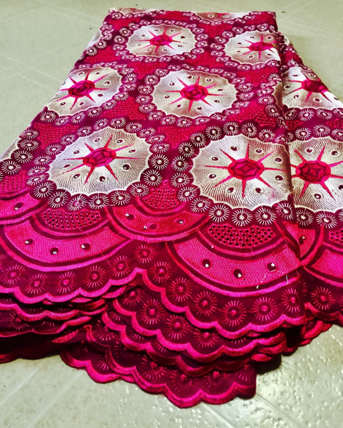 African Fabric Swiss Voile Lace Fushia Pink Gold African Lace Fabric 5 yrds