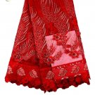 African Lace Fabric/ Tulle Lace Fabric/African Lace fabric/Red Swiss Lace 5yards