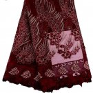 african lace fabric/Tulle Lace fabric/Wine Red Swiss Lace fabric/5yards