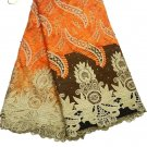 African lace fabric Swiss Lace fabric Tulle Lace fabric Orange Lace Fabric 5yard