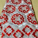african fabric lace/Swiss voile Lace/Red white  Swiss Voile Lace/ 5 yards