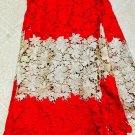 African Lace Fabric/ Guipure Lace Fabric red /Gold African Lace fabric / 5 yards