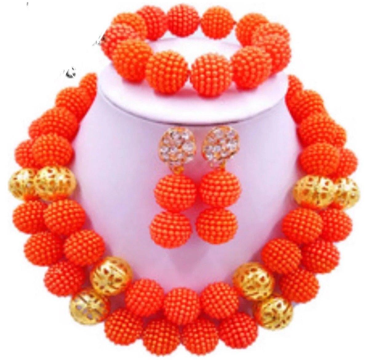 African Wedding Jewelry / orange beads jewelr set/Gold jewe