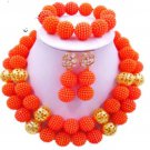 African Wedding Jewelry / orange beads jewelr set/Gold jewe
