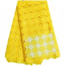 African Lace Fabric/ Swiss Lace Fabric/ Yellow Guipur Lace Fabric / 5 yards