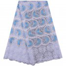 African lace fabric /Swiss Voile Lace fabric / White Blue Swiss Lace Fabric/5yds