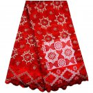 African lace Fabric / Swiss Lace Fabric / Red Tulle Lace Fabric / 5yards