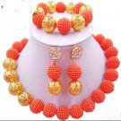 African Wedding Jewelry / orange beads jewelr set/