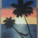 Tropical Art Apricot Sunset Serenity Palm Trees 50% of sale price goes to charity!