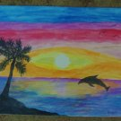 "Dolphin Cove Tropical Original Art 8"" x 10"" Laminated"