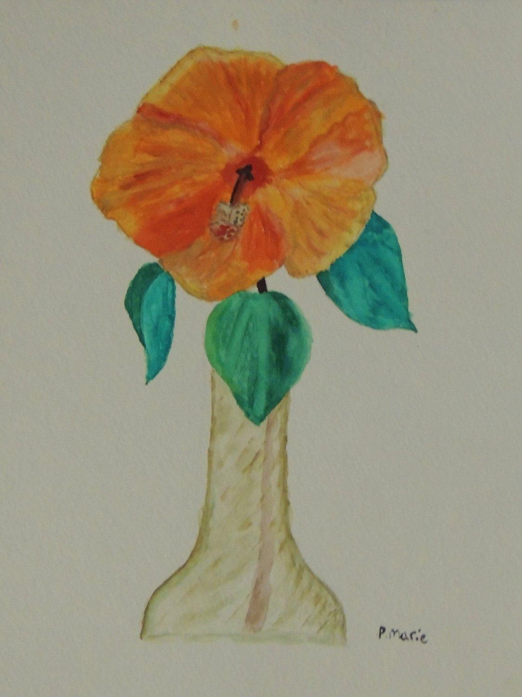 "Hibiscus Flower Tropical Art 8""x10"""