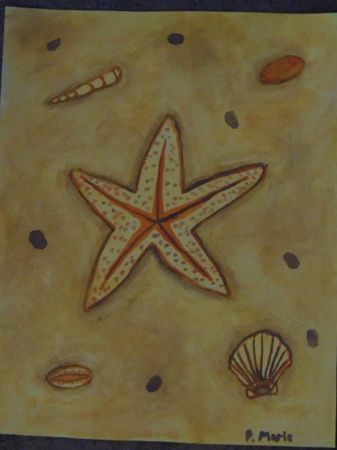 """Starfish in Sand Tropical Art Painting 8""""x10"""""""