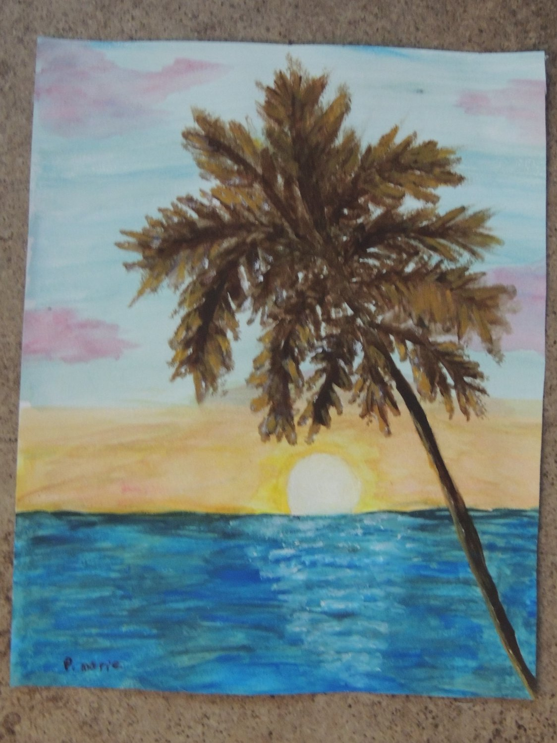 Tropical Art Palm Tree Sunset