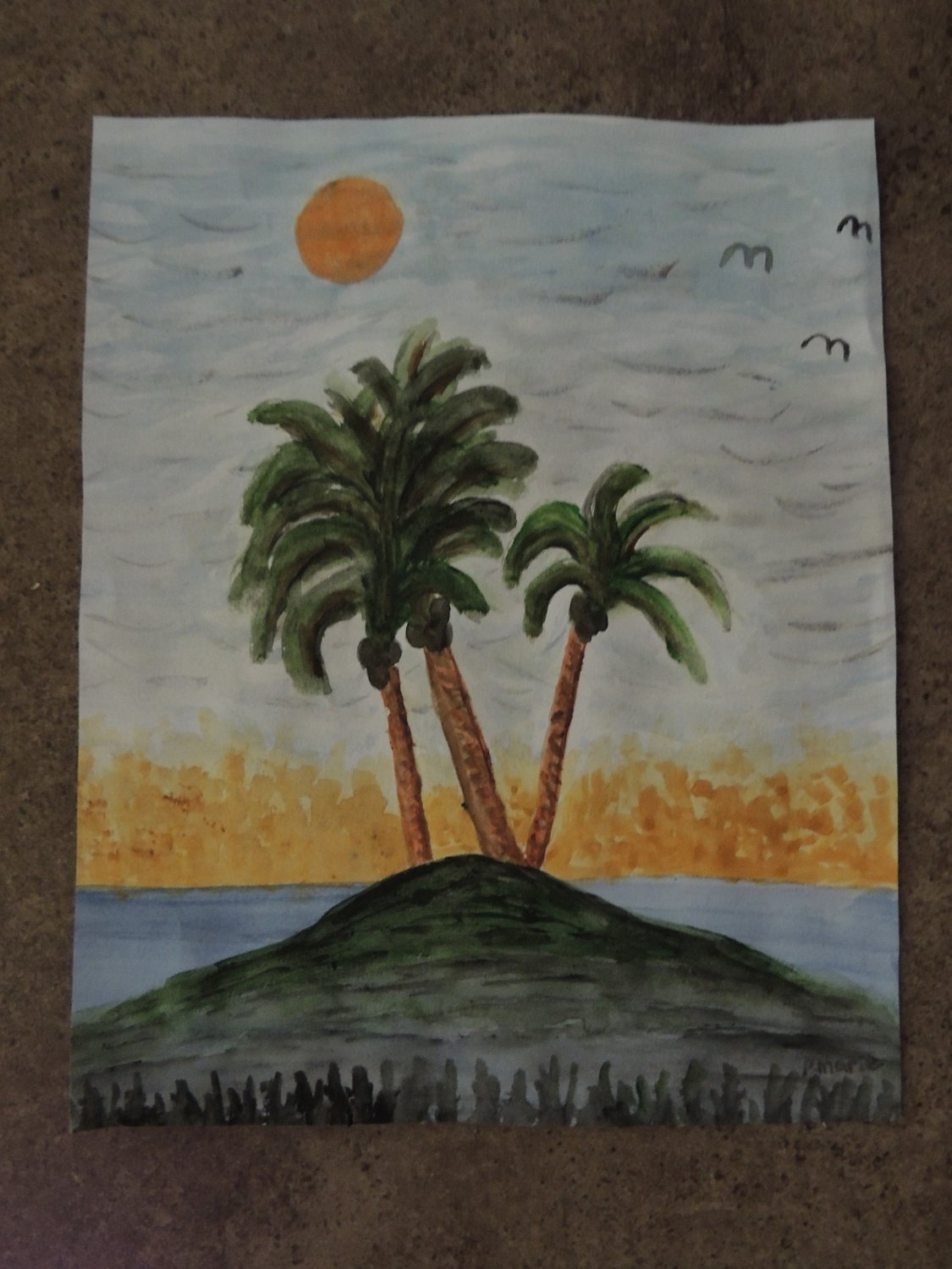 Palm Tree Island Tropical Art