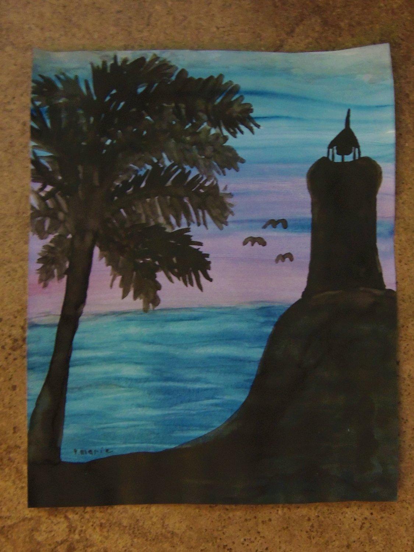 Purple skies Lighthouse silhouette