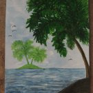 Palm Trees & Island Original Painting