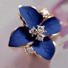 Tomtosh New Elegant Noble Blue Flower Ladies Gold Rhine 3 E4R
