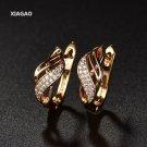 Xiagao New Design Gold Color Charm Austrian Crystal Hoop Ear 4 E4R