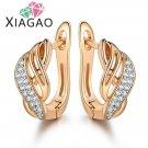 Xiagao New Design Gold Color Charm Austrian Crystal Hoop Ear E4R