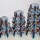 Set of 3 Rainbow Unique candles Hand Carved candles 5`/12cm 6.7`/17cm 8`/20cm