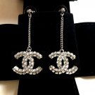 CHANEL Crystal BAGUETTE Drop Dangle Earrings SILVER Chain Double-Sided CC NIB