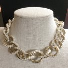 CHANEL CC Necklace CHOKER Bubble Pearls Brushed Finish GOLD Chain NIB