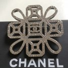 CHANEL Silver Knot CC Crystal Rhinestone Brooch Pin Super Shine Authentic NIB