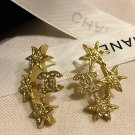 CHANEL CC Pearl CRYSTAL STAR Gold Stars Stud Earrings Hallmark Authentic NIB