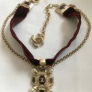 CHANEL CHOKER Necklace Brushed Finish Jewel Pendant Deep Red Velvet Gold Chain