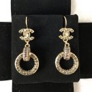 CHANEL CC Crystal Hoop Drop Dangle Earrings Gold 2016 ROME PARIS NIB