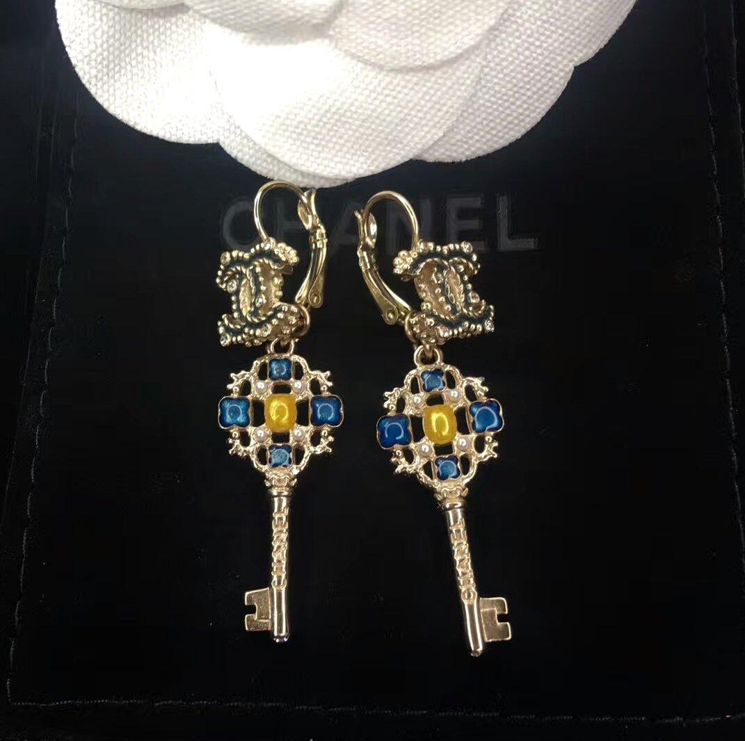 CHANEL Crystal CC Gold Stud Earrings Blue Yellow Enamel Dangle Leverback Key