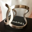 CHANEL CC Bracelet Silver Metal Cuff 2016 Simplicity Chic Authentic Hallmark