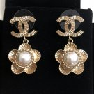 CHANEL Gold CC Stud Pearl Camellia Drop Dangle Earrings Vintage Authentic NIB