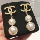 CHANEL CC Gold Stud Double PEARL Drop Dangle Earrings Authentic Hallmark NIB