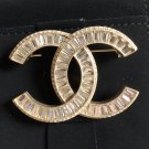 CHANEL Gold Crystal Baguette Fashion Brooch Pin CC Classic Authentic NIB