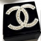 CHANEL COCO CHANEL PARIS CC Fashion Brooch Pin ACRYLIC WHITE Black Gold NIB