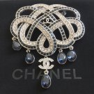 CHANEL CC Crystal Baguette Brooch Royal Blue Fringe 5 Teardrop Pin Large Size