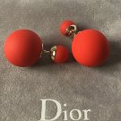 DIOR TRIBALE Mise en Dior Tribal Earrings ORANGE RED Rubber Lacquer Beads NIB