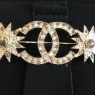 CHANEL CRYSTAL STAR Grey & Clear Stars Silver Brooch Pin Authentic HALLMARK NIB
