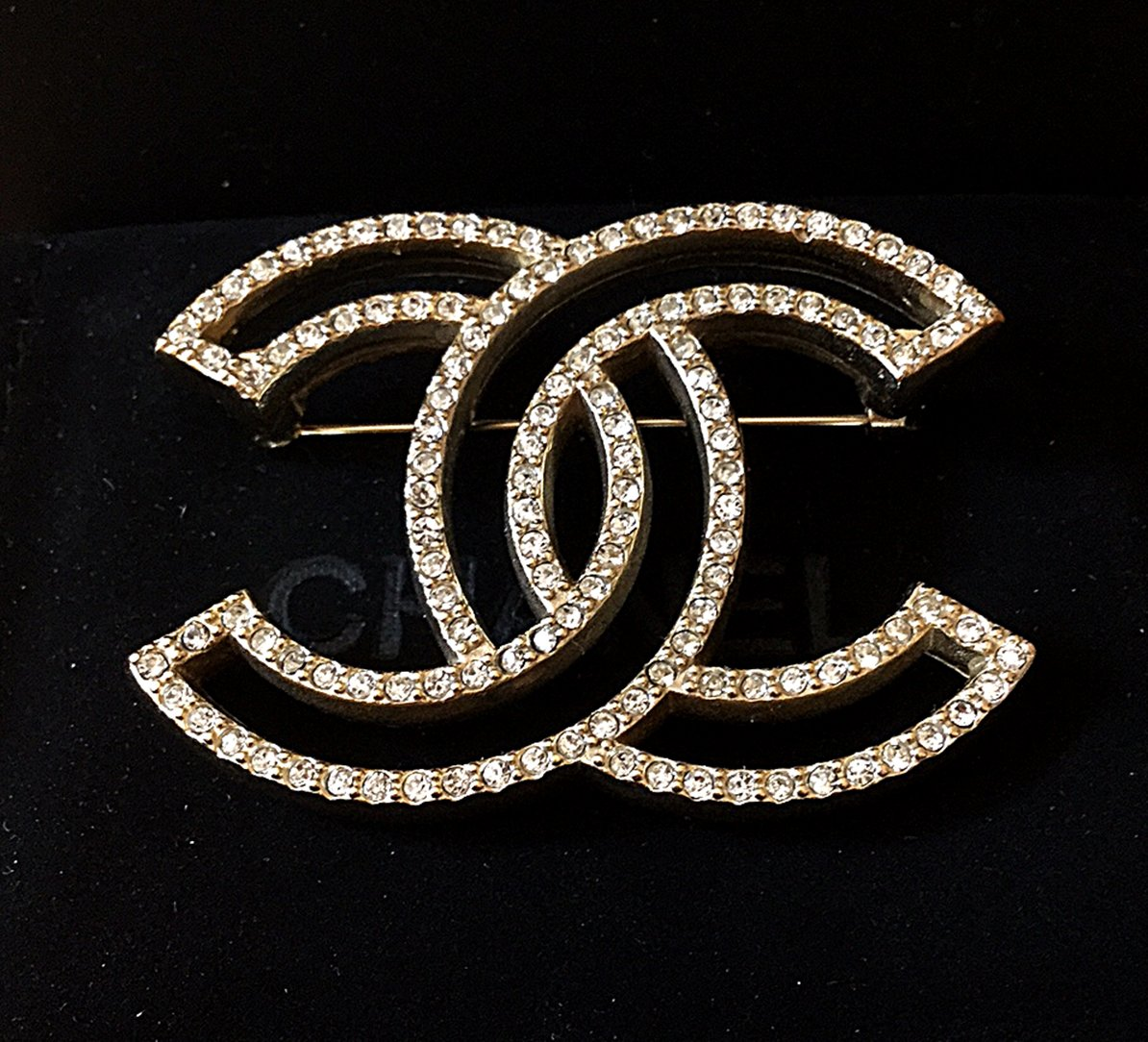 CHANEL Pale Gold Crystal Brooch Pin HOLLOW Design Hallmark Authentic NIB